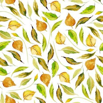 Naadloos de herfstpatroon met waterverf gele bladeren