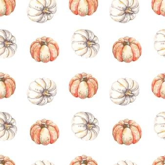 Naadloos de herfstpatroon met waterverfpompoenen