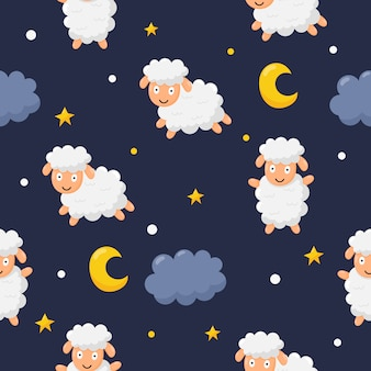 Naadloos de schapen grappig dier van patroon zoet dromen