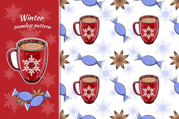 Naadloos de winterpatroon met hete koffiedrank