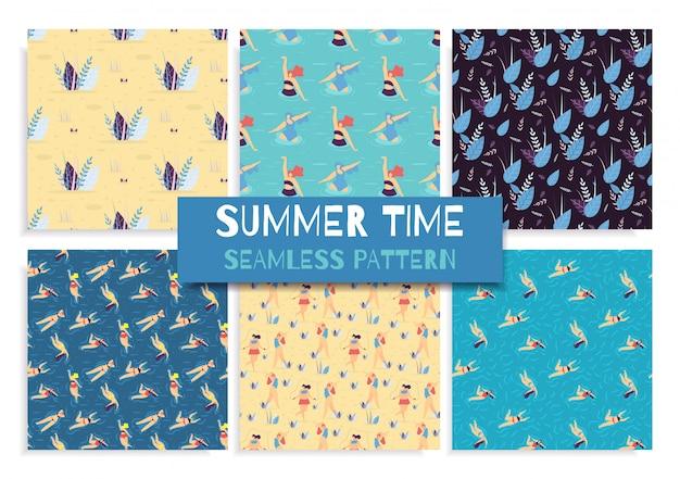 Naadloos de zomertijdconcept van de vlak patroon vastgesteld zomer