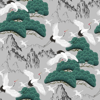 Naadloos decoratief patroon met japanse kraanvogels