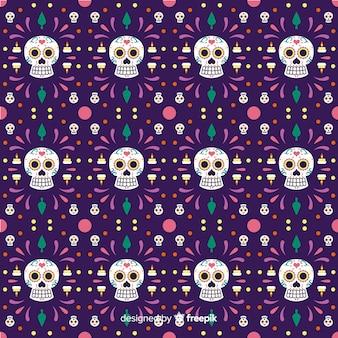 Naadloos dia de muertos patroon in violet