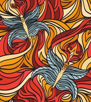 Naadloos doodlepatroon met krullen en vlinders voor je creativiteit