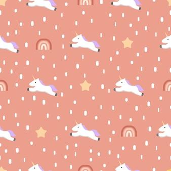 Naadloos eenhoornpatroon met sterren en regenboog.