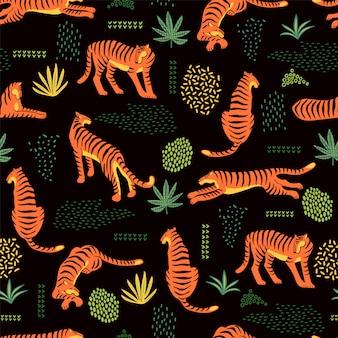 Naadloos exotisch patroon met tijgers en abstracte elementen.