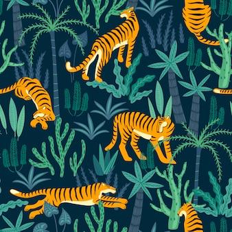 Naadloos exotisch patroon met tijgers in de wildernis.