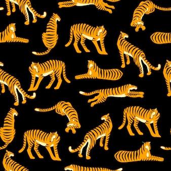 Naadloos exotisch patroon met tijgers.