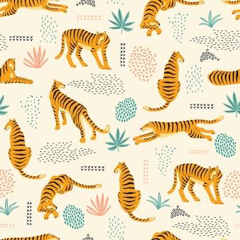 Naadloos exotisch patroon met tijgers