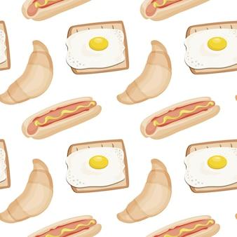 Naadloos fastfoodpatroon voor ontbijt of lunch