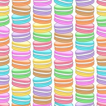 Naadloos geassorteerd macarons patroon.