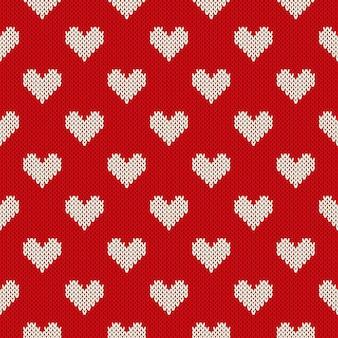 Naadloos gebreide patroon met harten. valentijnsdag