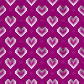 Naadloos gebreide patroon met harten