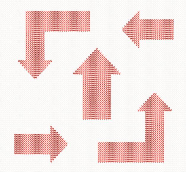 Naadloos gebreide patroon met rode pijlen