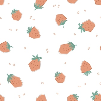Naadloos geometrisch patroon met aardbei in pastelkleuren. witte achtergrond met verse bessen. vlakke stijl illustratie voor kinderen van kleding, textiel, behang. vector