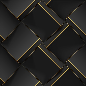 Naadloos geometrisch patroon met realistische kubussen, gouden lijnen. sjabloon met 3d-hobbeltextuur