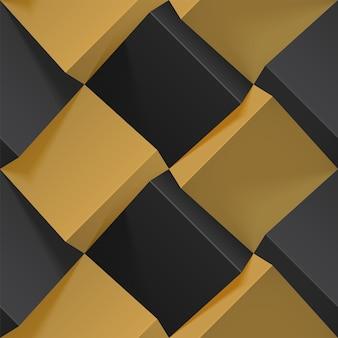 Naadloos geometrisch patroon met realistische zwarte en gouden 3d-kubussen