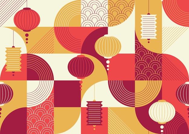 Naadloos geometrisch plat en sierontwerppatroon met chinese lantaarns, china-nieuwjaarachtergrond.