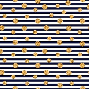 Naadloos gestreept patroon met glitter stippen.