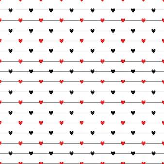 Naadloos gestreept patroon met harten die textuur herhalen