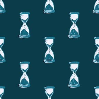 Naadloos getrokken patroon met zandloperornament. blauwe tinten.