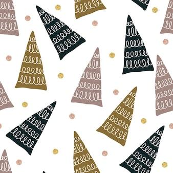 Naadloos glitter kerstpatroon met veelkleurige dennenboom en puntvorm