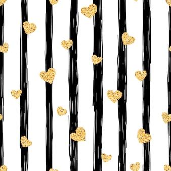 Naadloos gouden hartpatroon.