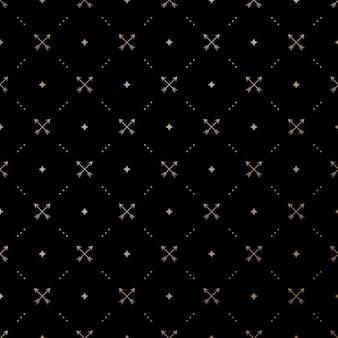 Naadloos gouden patroon met gekruiste pijlen