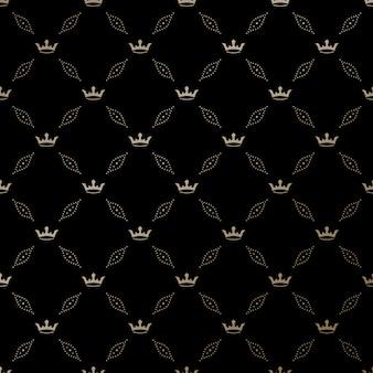Naadloos gouden patroon met koningskronen