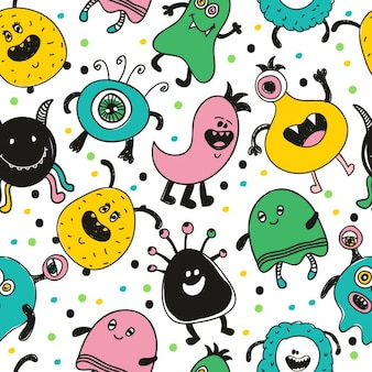Naadloos grappig monster patroon vector illustratie