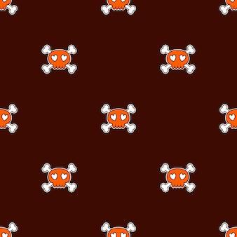 Naadloos halloween-patroon. behang met oranje schedels op bruine achtergrond. betegelbare achtergrond met halloween-symbolen. vector illustratie.