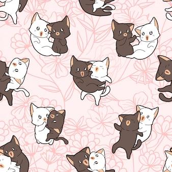 Naadloos hand getrokken patroon met kattenpaar