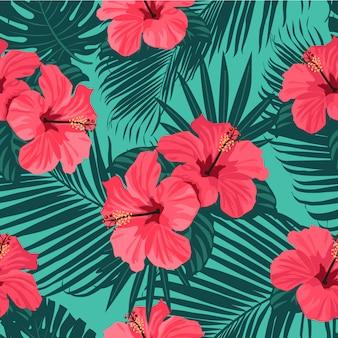 Naadloos hand getrokken tropisch patroon.