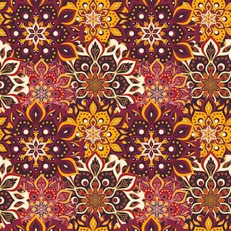 Naadloos handgetekend mandalapatroon