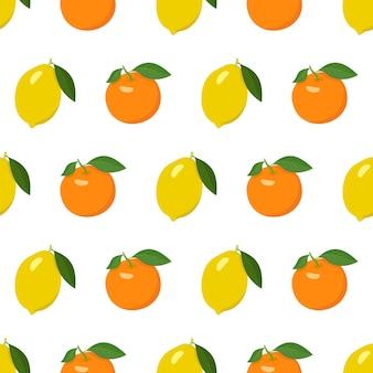 Naadloos helder patroon met citroen en sinaasappel