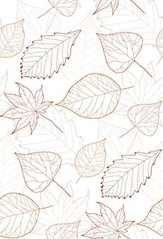 Naadloos herfstpatroon met contourbladeren