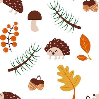 Naadloos herfstpatroon met egel en bladeren geïsoleerde vectorillustratie