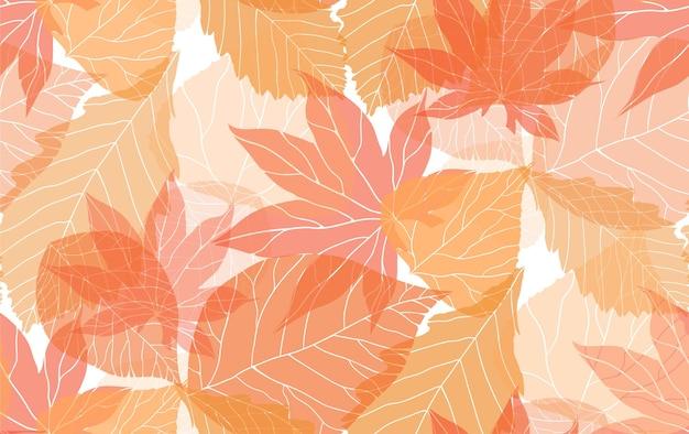Naadloos herfstpatroon met oranje doorschijnende bladeren