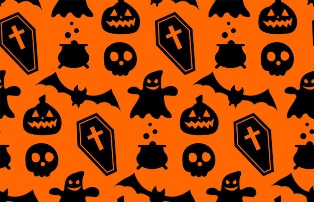 Naadloos herhalend patroon met halloween-symbolen. ontwerp van silhouetten voor de vakantie halloween. voor ansichtkaart, stof, banner, sjabloon, inpakpapier. platte vectorillustratie.