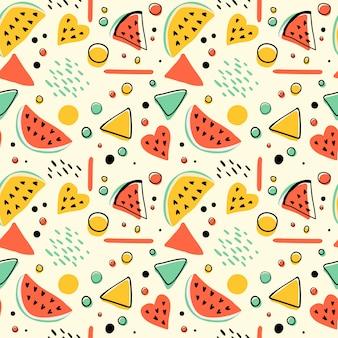 Naadloos hipsterpatroon met watermeloenen en geometrische cijfers