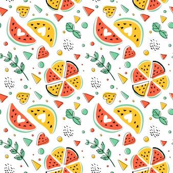 Naadloos hipsterpatroon met watermeloenen, munt en geometrische cijfers.