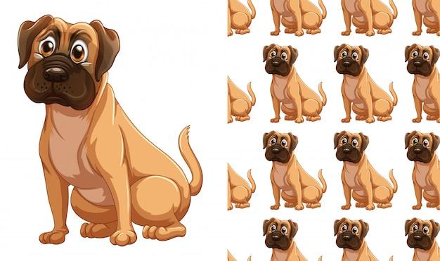 Naadloos hond dierlijk patroonbeeldverhaal