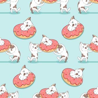 Naadloos katten- en donutpatroon