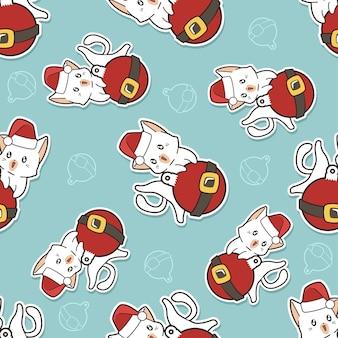 Naadloos katten- en kerstbalpatroon
