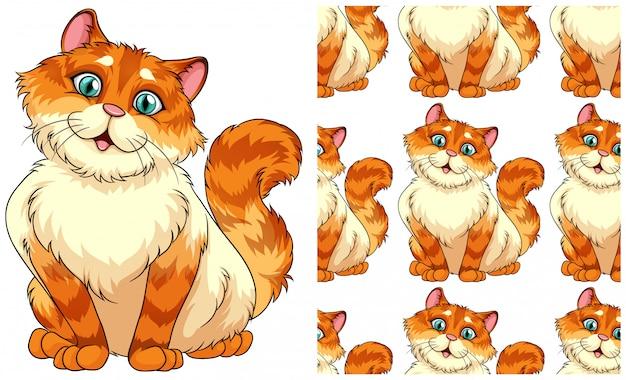 Naadloos kattenpatroon dat op wit wordt geïsoleerd