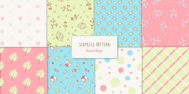 Naadloos kawaii stijl transparant patroon