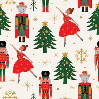 Naadloos kerstboompatroon met ballerina-notenkraker en muiskoning