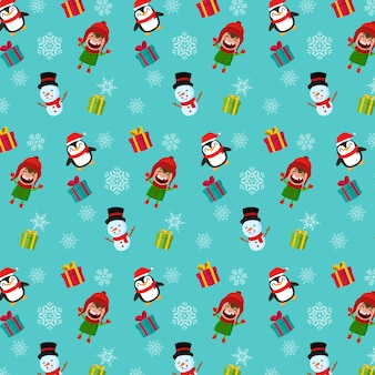 Naadloos kerstmispatroon. jongenssneeuwman en pinguïn
