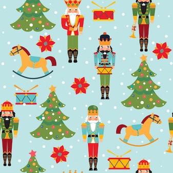 Naadloos kerstmispatroon met notekrakers, bomen, bloemen, sneeuwvlokken op blauwe achtergrond.