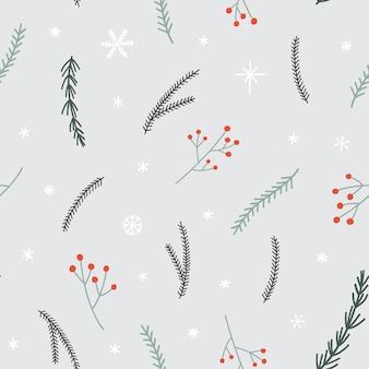 Naadloos kerstmispatroon met pijnboomtakken, sneeuwvlokken en rood bessentakje.